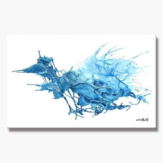 Large Stunning Abstract Blue Ice Painting, Artist-Signed, Giclee Fine Art Print, Contemporary, Acrylic, Wall Art, Home Decor,  10x16 - 36x60