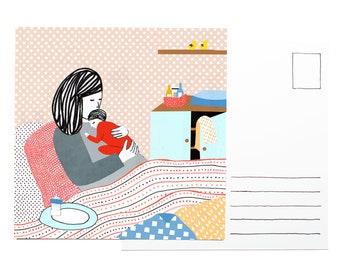 Illustration postcard - Days in bed