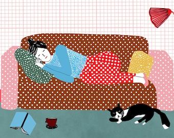 Illustration print - Sleepy days