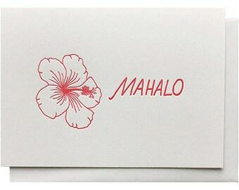 Hawaiian mahalo card etsy hibiscus mahalo letterpress hawaiian thank you card m4hsunfo