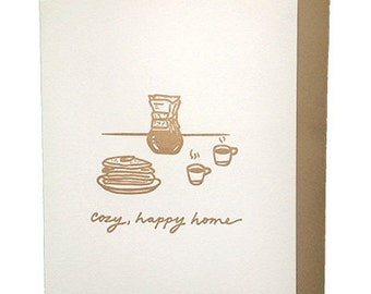 Cozy Happy Home - Letterpress New Home Card