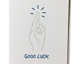 Fingers Crossed - - Letterpress Good Luck Card