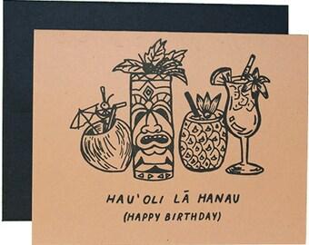 Tiki Birthday - Letterpress Hawaiian Birthday Card
