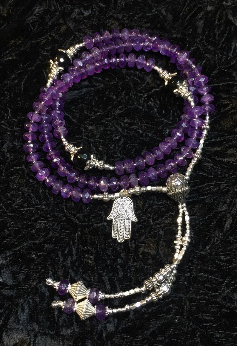 Black Onyx /& Silver Mala Reiki Attuned Healing Energy Infused Gemstone Faceted Amethyst
