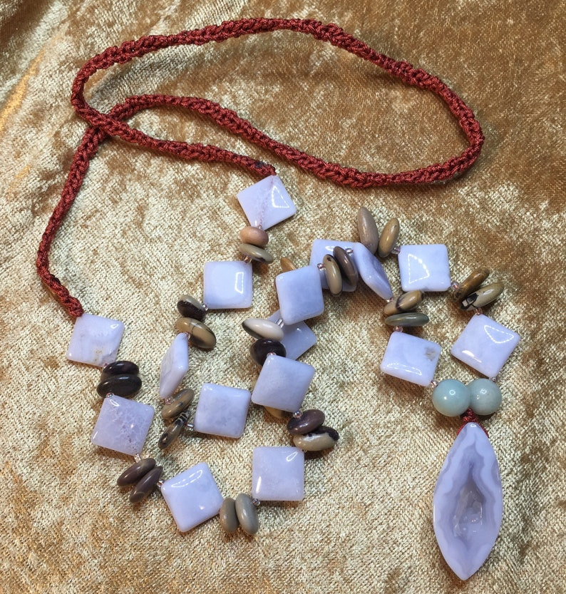 Reiki Attuned Crocheted Natural Blue Chalcedony /& Blue Lace Agate Beaded Statement Necklace Infused with Healing Reiki Energy Love