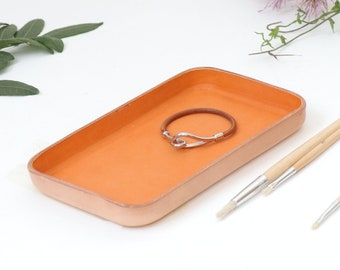 "Orange Leather Valet Tray ""M"""