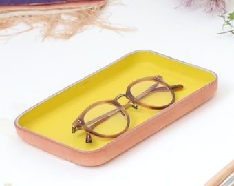 "Yellow Leather Valet Tray ""M"""