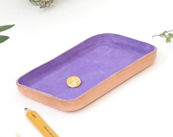"Purple Leather Valet Tray ""M"""