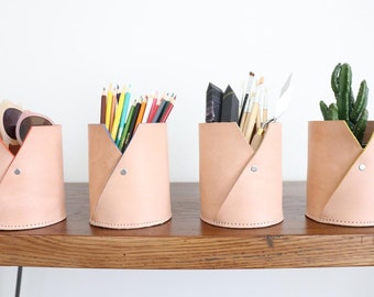 Multi Purpose Natural Leather Pen Stand