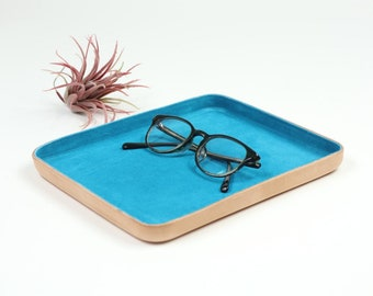 "TQ Blue Suede Leather Valet Tray ""L"""