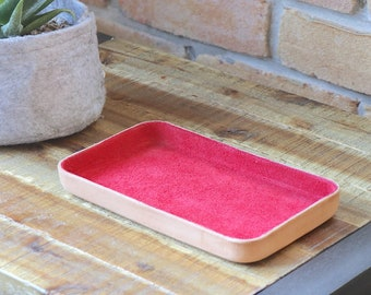 "Red Leather Valet Tray ""M"""