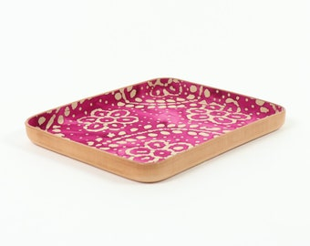 "Batik Bandana Leather Valet Tray ""L"""
