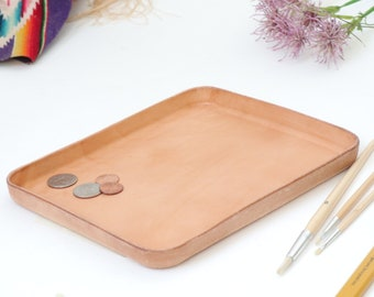 "Natural Vegetable Tanned Leather Valet Tray ""L"""