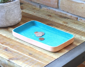 "TQ Blue Suede Leather Valet Tray ""M"""
