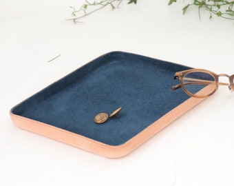 "Navy Leather Valet Tray ""L"""