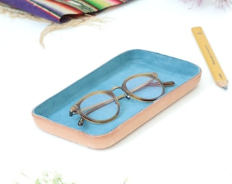 "Blue Leather Valet Tray ""M"""