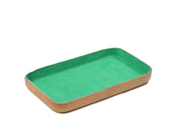 "Emerald Green Leather Valet Tray ""M"""
