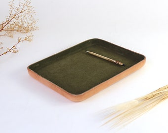 "Olive Leather Valet Tray ""L"""