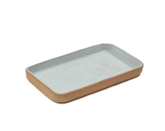 "White Leather Valet Tray ""M"""