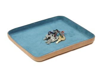 "Blue Leather Valet Tray ""L"""
