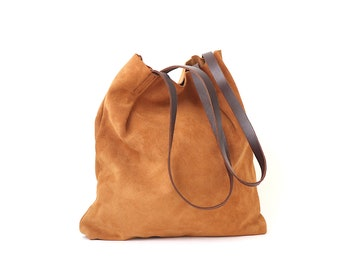 Toast Brown Suede Leather Tote Bag for Minimalist. Simple but Stylish. High Quality Suede Leather