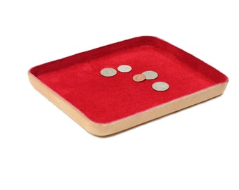 "Red Leather Valet Tray ""L"""