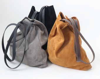 Grey Suede Leather Tote Bag for Minimalist. Simple but Stylish.  High Quality Suede Leather