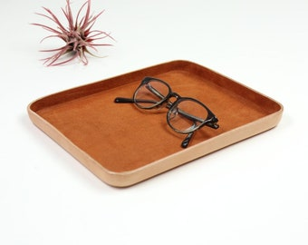 "Brown Suede Leather Valet Tray ""L"""