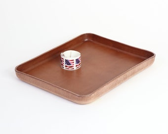 "Brown Vegetable Tanned Leather Valet Tray ""L"""