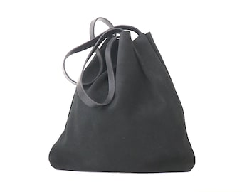 Black Suede Leather Tote Bag for Minimalist. Simple but Stylish. High Quality Suede Leather