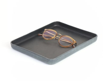 """Black Vegetable Tanned Leather Valet Tray """"L"""""""