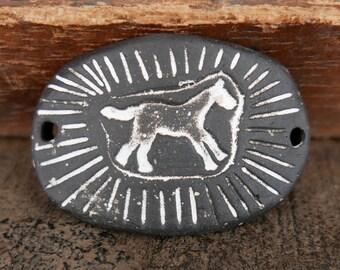 Stoneware Ceramic Bracelet Bar Cuff Matte Black Horse White Dots Handmade Pottery