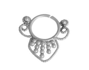 SILVER SEPTUM RING Tribal Handmade Sterling 925 Silver Gypsy Indian Nosering Free Shipping Unique Nose Pin Jewellery Gem Boho Bohemian Chic