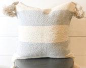 20x20 Cream and Gray Stripe Mudcloth Tassel Pillow Cover quot Haven quot pom pillow cover pom pom pillow tassel pillow moroccan