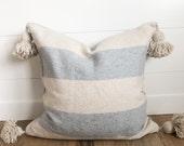 20x20 Cream and Gray Stripe Mudcloth Tassel Pillow Cover oatmeal pom pillow cover pom pom pillow tassel pillow moroccan
