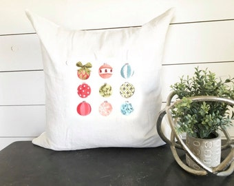 Christmas Ornament Collection Pillow Cover 18 x 18 // Christmas / Holiday / Christmas Pillow / Throw Pillow / Accent Pillow / Gift
