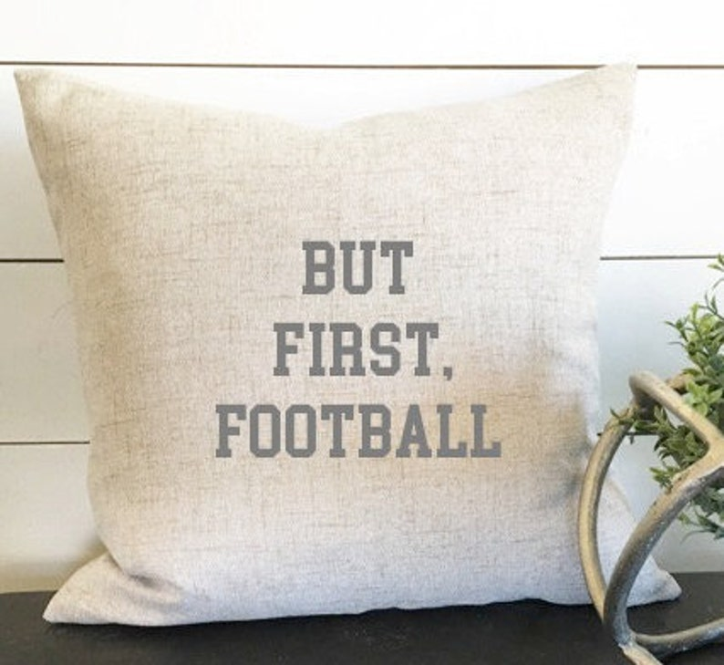 But First Football Pillow Cover Football Decor For Him image 0