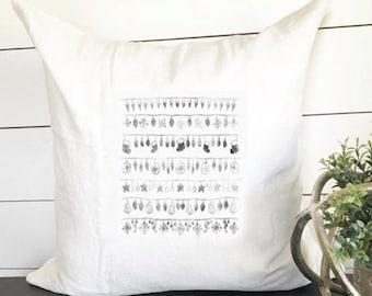 Christmas Stamp Print Pillow Cover 18 x 18 // Christmas / Christmas Pillow / Accent Pillow / Throw Pillow / Gift / Holiday