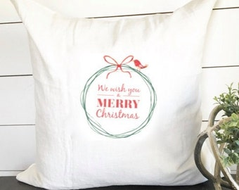 Merry Christmas Little Red Bird Pillow Cover 18 x 18 // Christmas / Christmas Pillow / Accent Pillow / Throw Pillow / Gift / Holiday