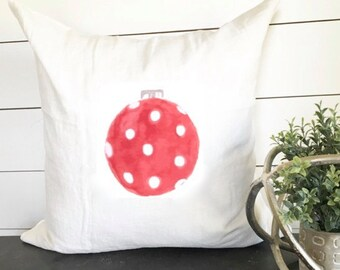 Red Polka Dot Christmas Ornament Pillow Cover 18 x 18 // Christmas / Holiday / Gift / Christmas Pillow / Throw Pillow / Accent Pillow / Gift
