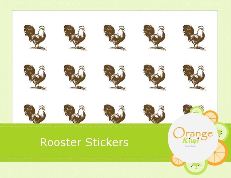 Rooster Stickers - Chicken Sticker - Farm Animal Stickers - Planner Stickers