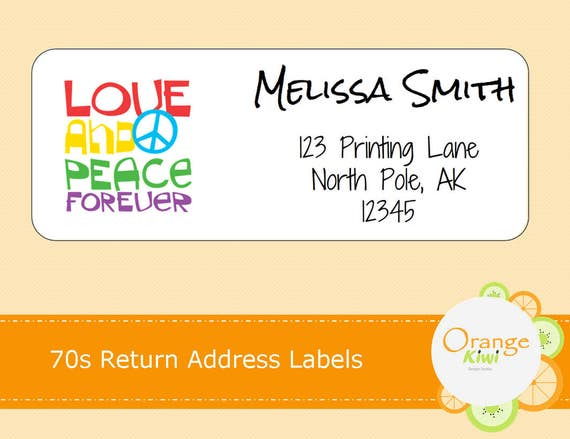 Peace Return Address Labels, Hippie Address Labels, Custom Mailing Labels,  Personalized Return Address Labels, 70s Labels, 70s Stickers