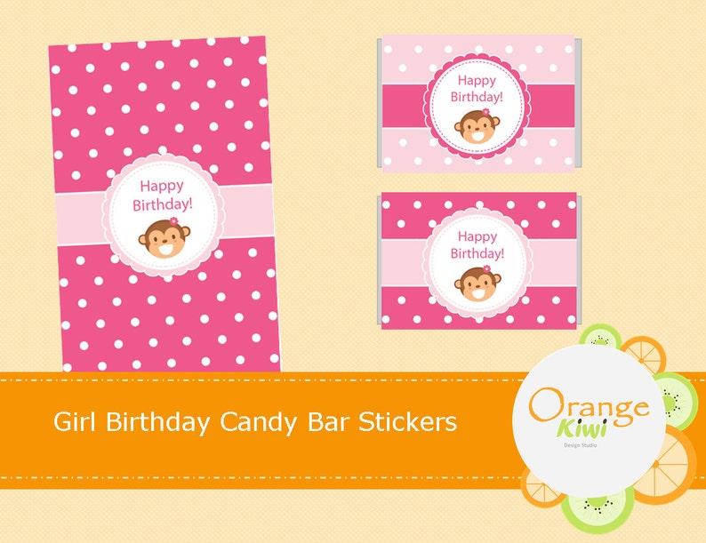e187fa790 Cumpleaños Niña mono Mini Candy Bar etiquetas envoltorios de | Etsy