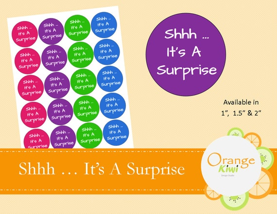 Shhh It S A Surprise Baby Shower Stickers Surprise Party Stickers Wedding Favor Stickers Package Stickers Envelope Seals