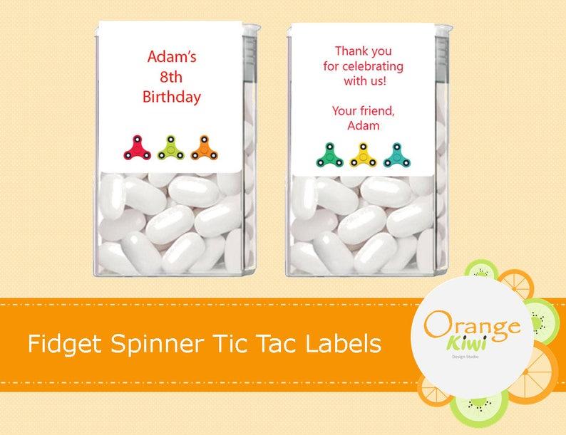 Zappeln Sie Spinner Tic Tac Etiketten Individuelle Aufkleber Tic Tac Aufkleber Gefälligkeiten