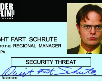 photo about Dwight Schrute Id Badge Printable known as Dwight and angela Etsy