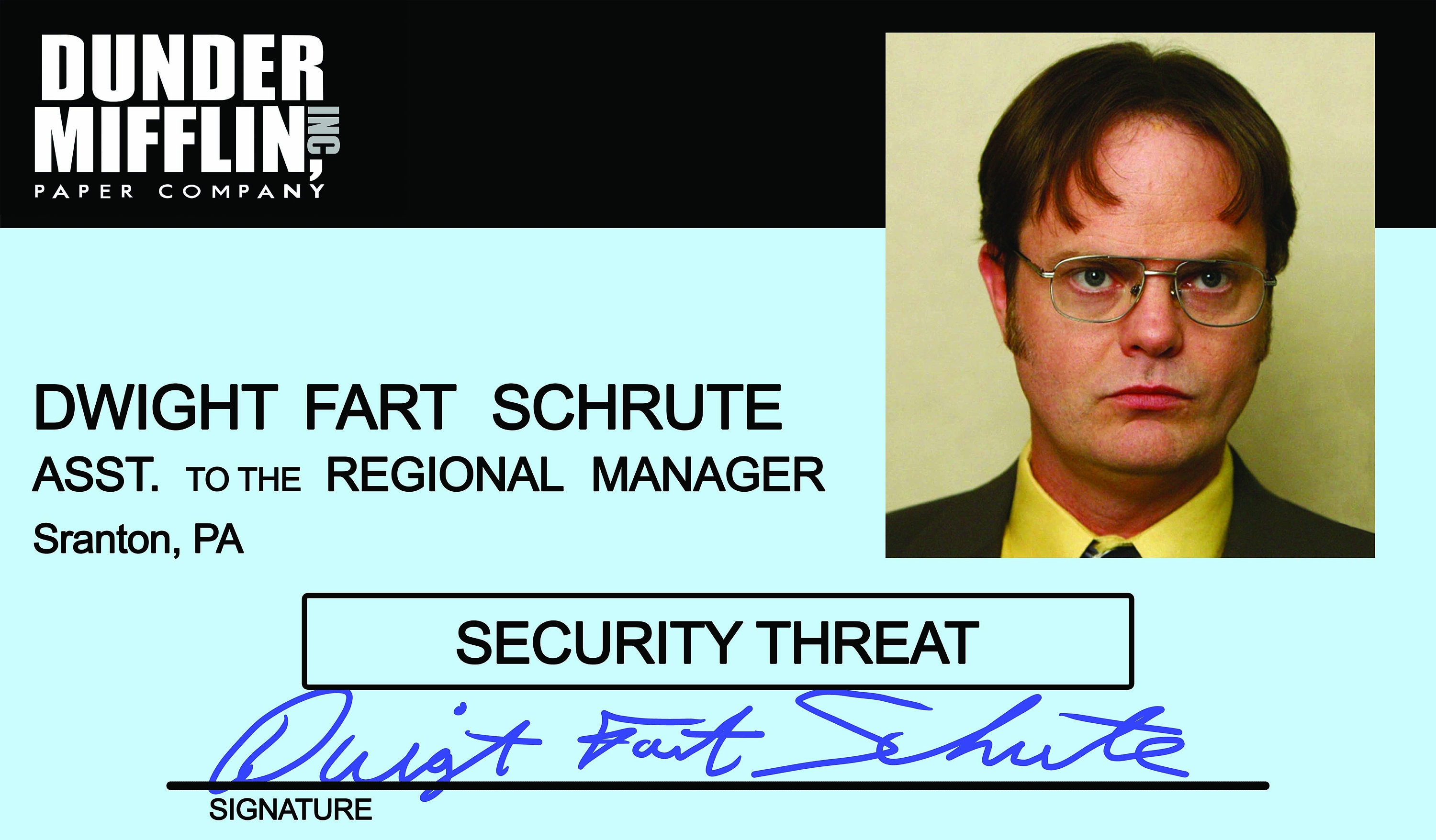This is an image of Accomplished Dwight Schrute Id Badge Printable