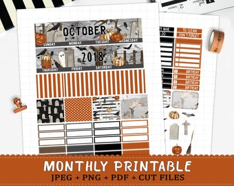October 2018 Monthly printable planner stickers for Erin Condren LifePlannerTM halloween graveyard ghost monthly sticker kit cut files