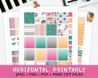 Horizontal floral summer printable planner stickers for Erin Condren Life Planner TM cut files tribal aztec flowers weekly sticker kit