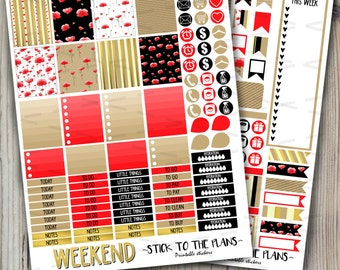 Poppies printable planner stickers red black floral stickers gold foil kraft paper black spring kit for use with Erin Condren LifePlannerTM
